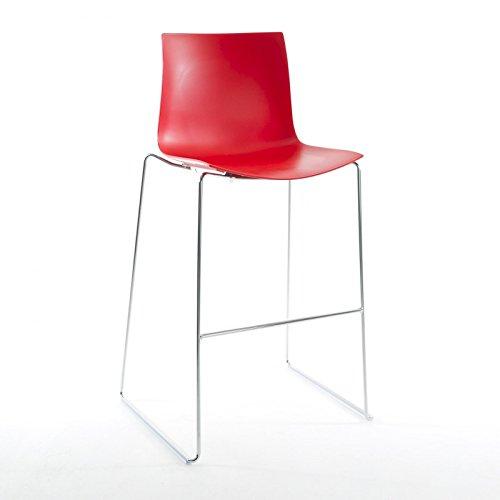 Catifa 46 0474 barkruk laag eenkleurig chroom, rood buitenschaal glanzend binnenkant mat frame verchroomd zithoogte 64 cm