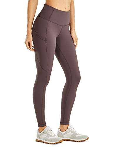 CRZ YOGA Women's Matte Brushed Light-Fleece Leggings High Waisted Workout Yoga Pants with Pocket Squat Proof-28 inches Purple Taupe Small