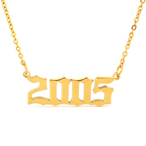 HUTINICE Birth Year Number Necklace, Old English Silver Pendant Necklace for Women and Girl Birthday Gift 18 inch Gold Chain Stainless Steel Friendship Jewelry…