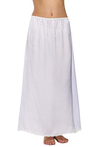 Avidlove Damen Lang Rock Spitzen Unterrock Halbrock Unterkleid Petticoat Einfarbig Weiß Miederröcke Halbslip M A Maxi Weiß