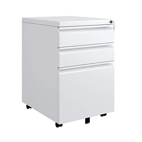 Homfa Rollcontainer Bürocontainer mobiler Aktenschrank mit 3 Schubladen abschließbar, Aufbewahrung von A4 Akten mit Kippschutzrad vormontiert Metall Büro, Homeoffice 39x48x60cm, weiß