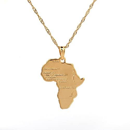 Collar con colgante de mapa africano, joyería al por mayor de Hiphop de Color dorado de 24 k para mujer y niña