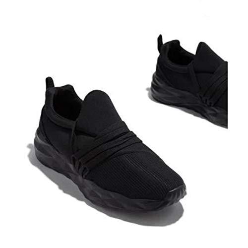 HaoLin Zapatillas Deportivas para Caminar Zapatos para Correr Punta Redonda Zapatos De Gimnasia Antideslizantes Casuales para Mujeres,Black-37