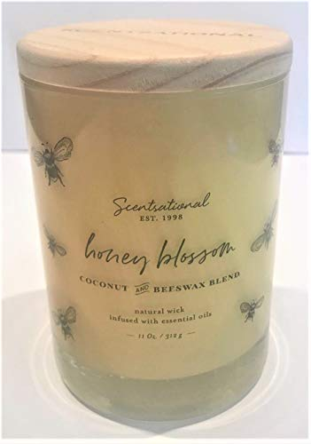 Natural Coconut Beeswax Blend Candle Honey Blossom Fragrance in Glossy Yellow Jar Decorated with Honey Bees, 11 Oz.