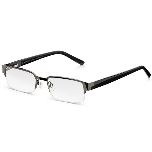 Read Optics Lesebrille für Herren: Schicke Halbrandbrille in Schwarz. Gläser hoher Qualität mit Blendschutz in Stärke +2,5 Dioptrien. Moderne Lesehilfe mit Federscharnieren und weichen Nasenpads