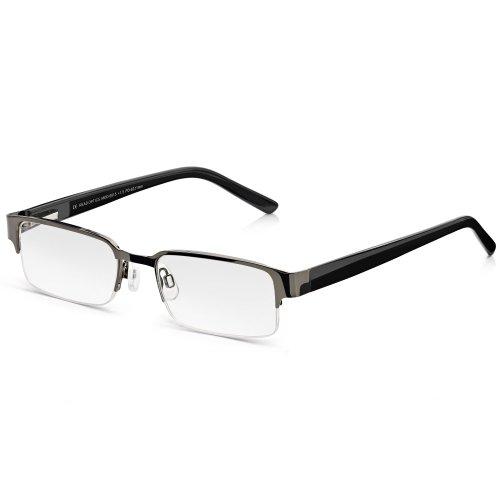Read Optics Herren Lesebrille: Halbrandbrille in klassischem, doch modernem Schwarz. Qualitäts-Gläser mit Blendschutz in Stärke +1,5. Mit Federscharnier und weichen Nasenpads für besten Tragekomfort
