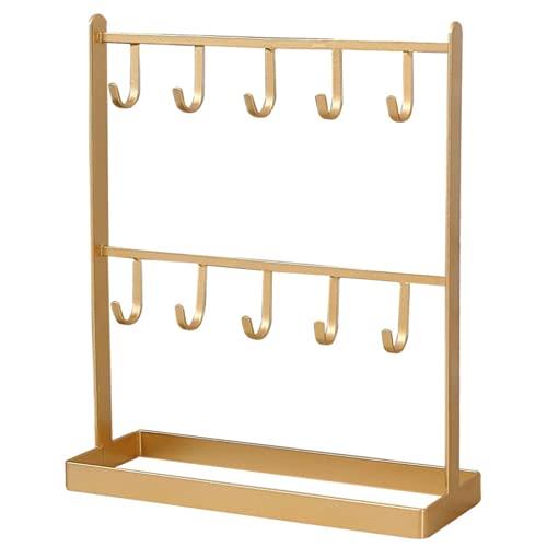 Rack de Joyas de Hierro Forjado, ordenado el Bastidor de exhibición, Usado para almacenar Collares, Dos Capas de 10 Ganchos, Pulseras, Anillos, Pendientes, Gafas de Sol, Carteras