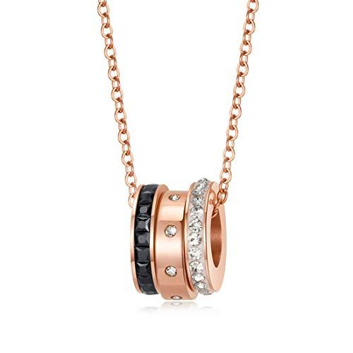 Palm kloset Collar Versión Coreana Oro Rosa Cadena de clavícula combinada de Tres Piezas Mujer Diamante Elegante Collar Accesorios Simples for Estudiantes