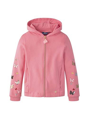 TOM TAILOR Mädchen Strick & Sweatshirts Sweatjacke mit Schmetterling-Verzierungen pink Carnation|Rose,92/98