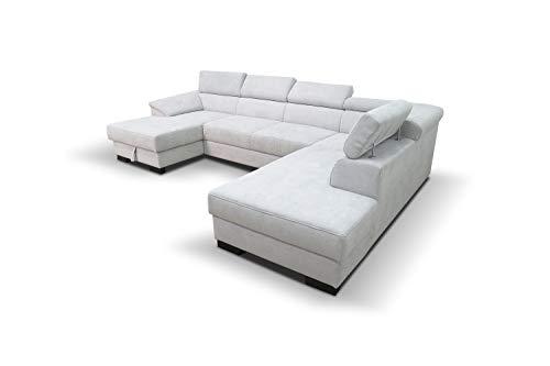 DOMO. collection David Wohnlandschaft | Sofa mit Federkern und Schlaffunktion in U-Form, Schlafsofa Rückenfunktion, grau, 166x337x232 cm