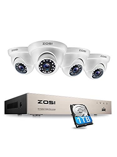 ZOSI 1080P Kit de Cámara de Seguridad 8CH H.265+ Videograbador DVR con (4) Cámara de Vigilancia Exterior, 1TB Disco Duro, 20m Visión Nocturna, Alarma Email, P2P