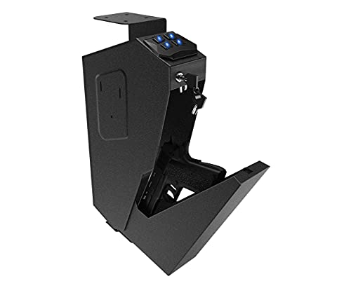 RPNB Mounted Firearm Gun Safe with Auto Open Lid 4-Digit PIN Keypad Lock Handgun Safe