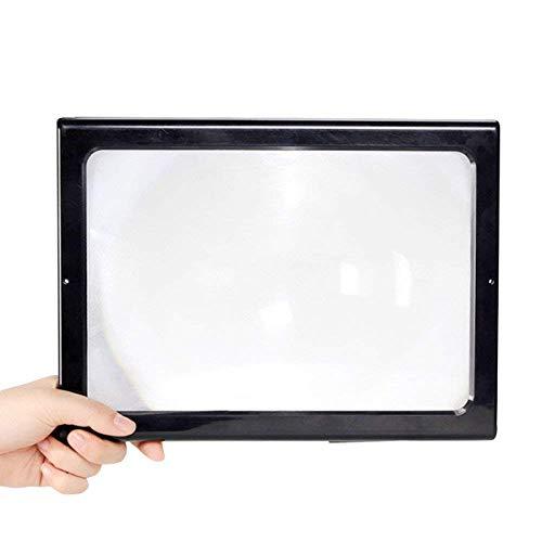 AI LI WEI Magnifier vergrootglas desktop met LED-lampen voor ouderen Vergroting 3X-borst hangen rechthoekige grote lens opvouwbaar, zwart vergrootglas