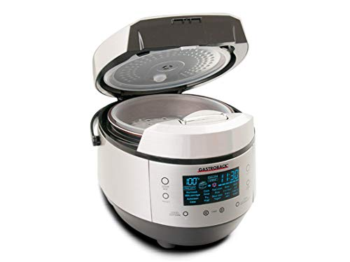 Gastroback 42526 Design Multicook Plus, All IN ONE: Dampfgarer, Fritteuse, Slow Cooker, Brotbäcker, Reiskocher und Joghurtbereiter, 20 Programme, 5 Liter, 950 Watt, Metall, Metallic
