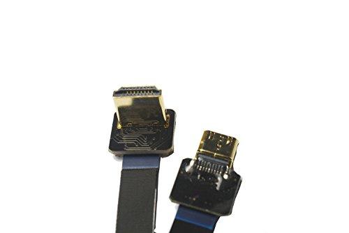 Cable HDMI Plano Delgado Mini HDMI Macho Recto a HDMI estándar de 90 Grados en ángulo para Canon 5D3 5D2 Panasonic lumix GH3 GH2 Sony NEX 5N 5T 5R 7N dji Negro (20centimeters)