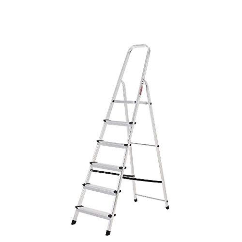 ORYX 23010004 Escalera Aluminio 6 Peldaños Plegable, Uso doméstico, Antideslizante, Ligera y Resistente