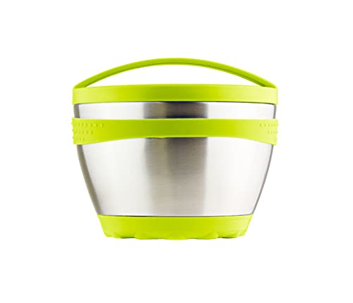 Kid Basix Safe Bowl, Reusable Stainless Steel Lunchbox Container for Adults, Thermos for Hot & Cold Food Storage, Dishwasher Safe, 16oz Lime