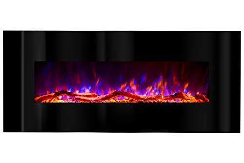 Art Flame Chimenea eléctrica Madrid LED negro, potencia 1500 W, para colocar en la pared, llama multicolor