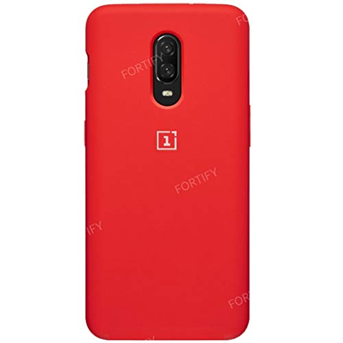 Fortify Pure Liquid Silicon Soft Back Cover Case for OnePlus 6T / One Plus 6T (Liquid Silicone Series (Bottom Closed), RED)