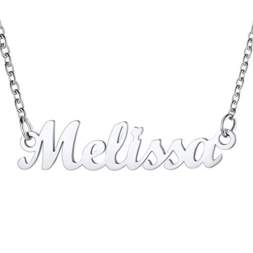 U7 Collar Mujer Letrero Melissa Nombre de Madre Material Acero Inoxidable Tono Platino joyerías Modernas identificativas