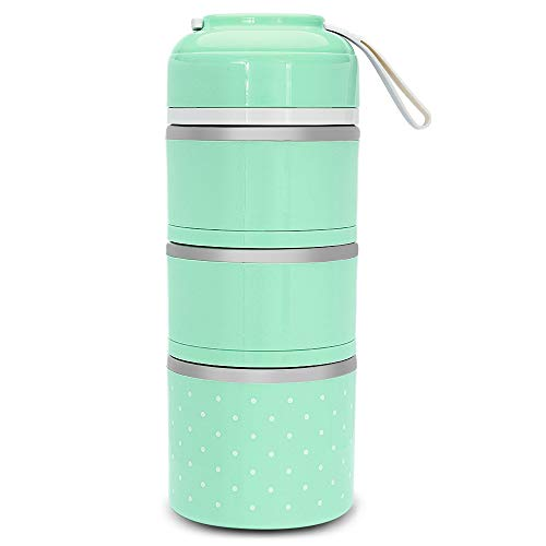 Happyshop18 Lunchbox, Bento-Box, Edelstahl, 3 Ebenen, tragbar, auslaufsicher, für Kinder und Erwachsene, stahl, grün, 3 layer