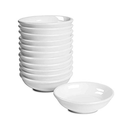 Dipping Bowls Sets of 12- Delling 1.2 Oz Porcelain Dip Sauce Dishes & Bowl Small Cups for Sushi Tomato Sauce, Soy, BBQ -Chip and Dip Serving Set,Nutural White