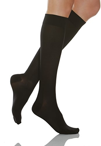 Relaxsan Basic 950 (1 Pair - Black, Sz.1) - firm support knee high socks 20-30 mmHg, 100% Made in Italy