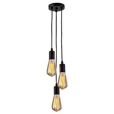 Pendant Light Industrial Hanging Lamp Vintage Pendent Lights Hanging 3 Lights 51.2inch Cord Cable E26 E27 Socket for Restaurant Kitchen Island Living Room Bathroom