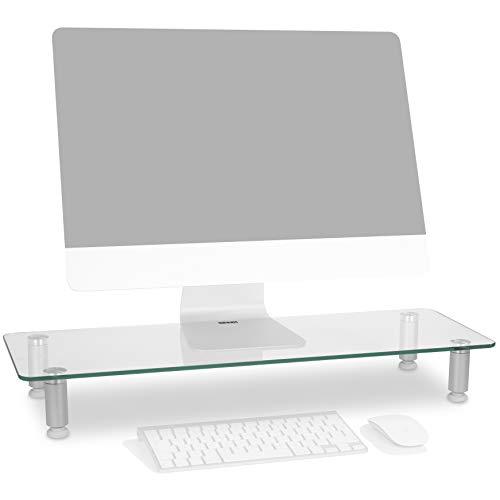 Duronic DM052-3 Supporto Monitor scrivania Supporto da Tavolo Regolabile per Monitor Schermo Laptop in Vetro Trasparente Dimensioni 700 x 240mm