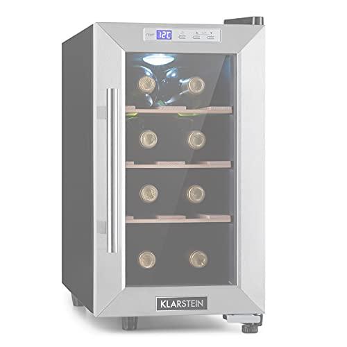 Klarstein Reserva Uno nevera para vinos, 23 litros / 8 botellas, temperatura: 11-18 °C, ruido: 26 dB, 3 baldas metálicas, luces LED, protección UV, nevera de vinos independiente, acero, carbón