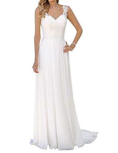 YASIOU Elegant Hochzeitskleid Damen Lang Hochzeitskleider Chiffon Spitze Brautmode Rückenfrei Weiß A Linie Brautkleid Abendkleider