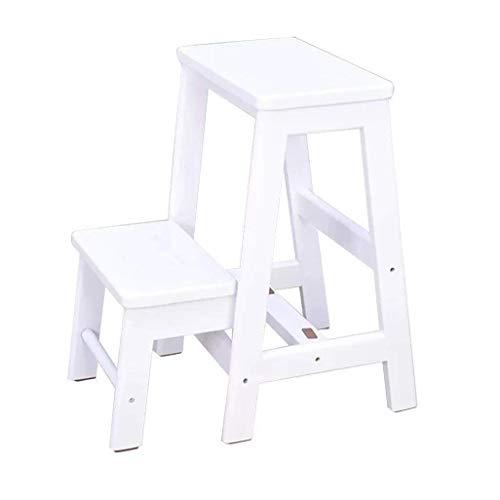GUOXY Multifunktions-Stufenleiter Mit 2 Klapptritte, Eiche Hocker Für Kinder Und Erwachsene, Light House Gartenwerkzeug 150 Kg,Weiß