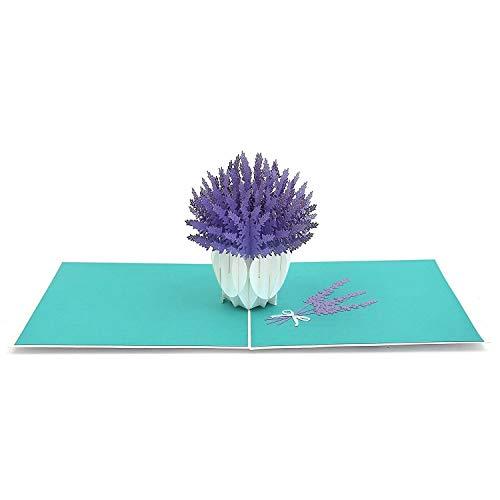 3D Blumenkarte - Lavendel Blumenstrauß Pop-Up Karte für Geburtstag, gute Besserung, Dankeskarte - Handgemachte Klappkarte mit Umschlag, kreativ Geburtstagskarte…