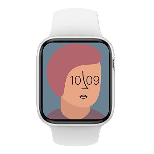 XUEXIU Smart Watch Men Women Bluetooth Llamada 1.72 Pulgadas Botón De Giro Personalizado Dial Cardíaco Fitness Smartwatch para Android iOS PK W26 W46 (Color : White)