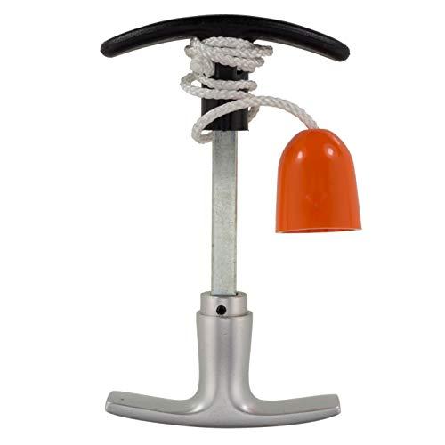 Garagentorgriff 9x100 mm Alu F1 + Innengriff Garagentor Kunststoff, 50cm Seil + Glocke