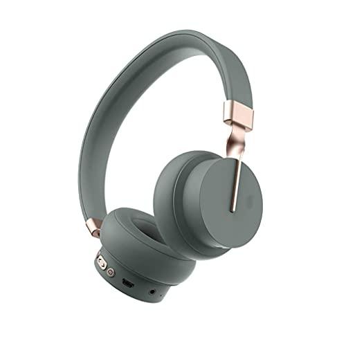 Auriculares Bluetooth sobre Oreja Auriculares Ligero 25H Playtime TF y Modo con Cable Micrófono Incorporado para teléfonos PC Gaming (Color : Green)