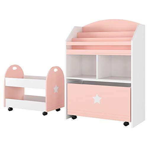 Homfa 2er Set Kinderregal Aufbewahrungsregal mit Schublade 2 fächern 3 Hängefächern Rollwagen Rosa Weiß 60 x 30 x 86,5cm 49,5 x 30 x 44cm