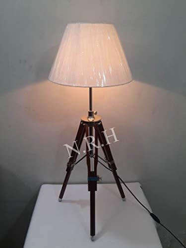 Dreifuß-Tischlampe, Holz, Chrom-Finish, Braun