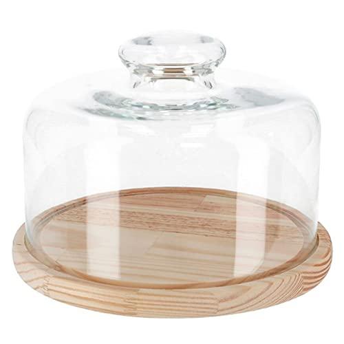 Quesera redonda con tapa de cristal y base de madera 25 x 18 cm. Recipiente para conservar frescos quesos o embutidos
