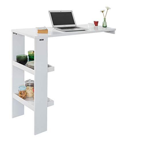SoBuy FWT55-W Design Bartisch Stehtisch Bartresen Bistrotisch Esstisch Küchentisch mit 2 Regalfächern weiß BHT ca.: 120x106x45cm