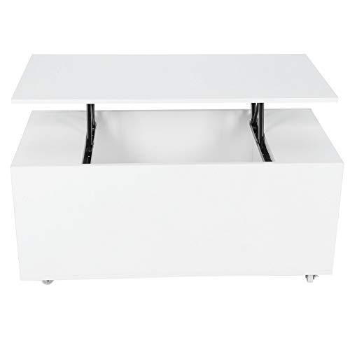 AYNEFY Mesa de centro de elevación, moderna mesa de centro elevable, mesa auxiliar con almacenamiento, blanco, 100 x 50 x 57 cm