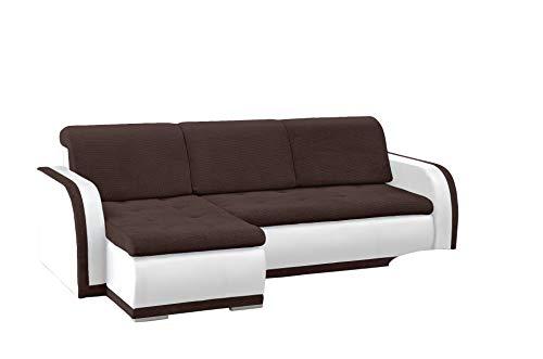 mb-moebel kleines Ecksofa Sofa Eckcouch Couch mit Schlaffunktion und Bettkasten L-Form Polstergarnitur große Farbauswahl - VERO I (Ecksofa Links, Braun + Weiß)
