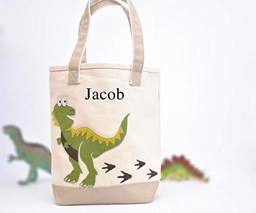 Dinosaur Tote Bag|Personalized Kids tote|T-rex Tote| Preschool Tote| Library bag