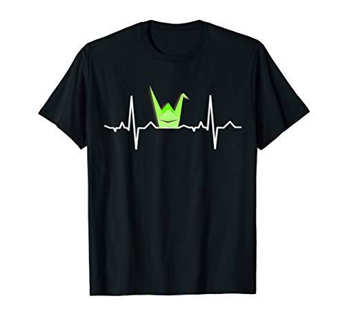 Origami Papiervogel T-Shirt, EKG Herzschlag Shirt