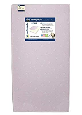 Serta Sertapedic Petals Fiber Core Crib and Toddler Mattress | Waterproof | Lightweight| GREENGUARD Gold Certified (Natural/Non-Toxic)