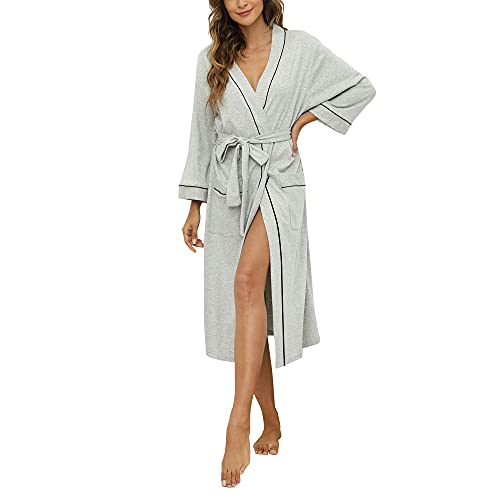 HEARTNICE Womens Cotton Robe Soft Kimono Spa Knit Bathrobe Lightweight Long (Grey Mel, M)