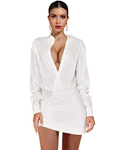 UONBOX Women's Long Sleeves Deep V Neck White Draped Shirt Dress White M