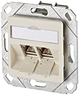 MC TECHNOLOGY RAL 1013 E-Dat Module 8/8(8) Cat 6 Flush Mounted Wall Outlet 2 Outlets Pearl White