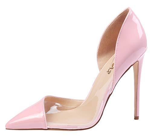 AOOAR Damen High Heels Mode Schuhe A-Pink&Transparenzfilm Kleid-Partei Pumps EU 45