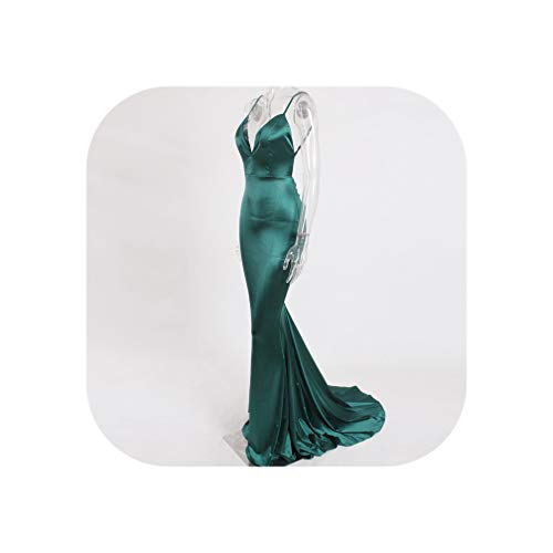 Deep V Neck Cut Out Sling Dress Bodycon Floor Length Open Back Stretch Satin Evening Party Dress,Green,S